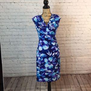 CHAPS blue floral ruched wrap dress